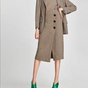 Zara Checked Wrap Midi Skirt XL